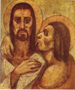 Judas Iscariot attempting to kiss Christ.
