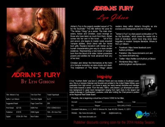 Adrian's Fury, Sell Sheet for Fall 2014